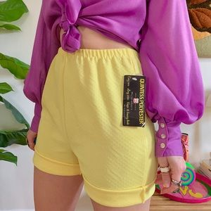 Deadstock 1970s lemon yellow high waisted shorts